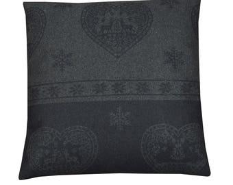 "Square cushion 40x40cm removable fabric ""Snowflake dark grey"""