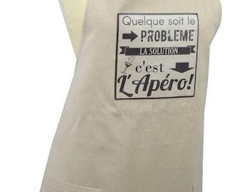 Apron 2 pockets 90cm X 78 cm ecru cotton