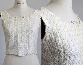 CLEARANCE: Vintage 1950s 1960s Sequinned White Top / Sparkly Blouse / Sleeveless Shirt / Party Top / Sequins and Ribbon Soutache