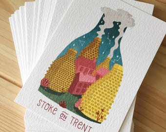 Potteries postcard, stoke on trent, bottlekiln digital illustration, art print A6