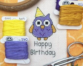 Owl Happy Birthday Cross Stitch Pattern