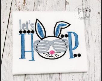Boys Easter Shirt, Boys Easter Bodysuit, Let's Hop, Boys Easter Bunny Shirt Bodysuit, Embroidered Applique Shirt or Bodysuit