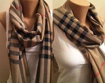 Stripe Beige Scarf, Brown Scarf, Winter Fashion, Birthday Gift, Fashionable Scarf, Trendy Scarf, Scarves, Valentines Day gifts, Pashmina