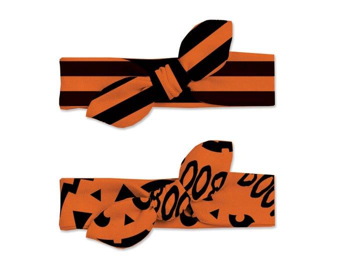 Baby Halloween Headband Set Black Orange Pumpkin, Baby Girl Halloween Headband Set Black Orange Stripe, Bow Headwrap, Tesababe HB59BOBJL0000