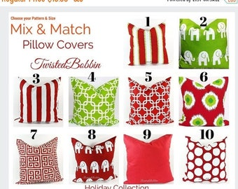 SALE Red Pillow. Mix & match pillow covers.Red pillow cover.Green pillow cover.Red cushion cover.green pillows. Red pillows.green cushion co