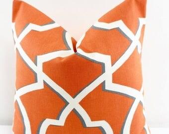 SALE Orange Pillow cover. Morrow Apache Orange and off white Sofa Pillow cover. Geometric  sham cover. Sham cover. Select size.