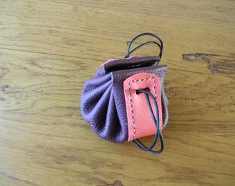 Two-tone leather purse Burgundy and pink