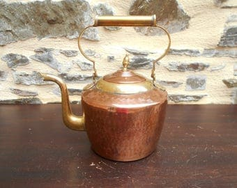 Charming Vintage French Villedieu Copper and Brass Kettle