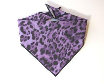 Tie On Purple Leopard Dog Bandana, Dog Scarf, tie bandana, pet bandana, doggy scarf , scarf for dogs