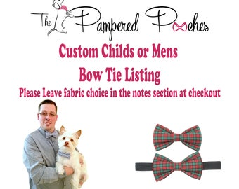 Custom Mens or Childs Matching bow tie, pet bow tie, collar bow tie, wedding bow tie