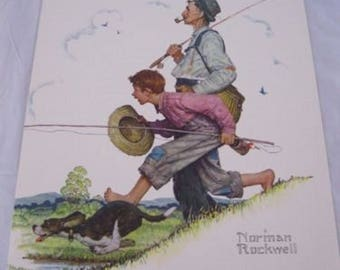 Norman Rockwell Print Spring Fishing Pole Litho Boy Dog Grandpa Creel Straw Hat