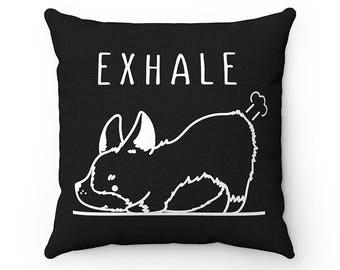 Exhale Corgi Yoga Dog Pillow, Throw Pillow Covers, Inhale Exhale Square Pillow Cases, Dog Lover Cushion Cover Case, Funny Housewarming gift