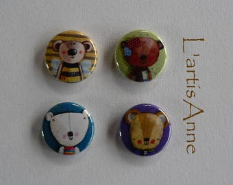Set of 4 Mini magnets bear Bear Badges or Magnets.