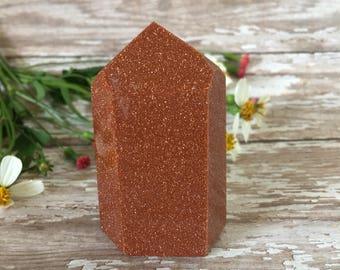 Goldstone Tower- Goldstone Gemstone Point -Meditation Tool-Reiki Healing-Polished Red Goldstone