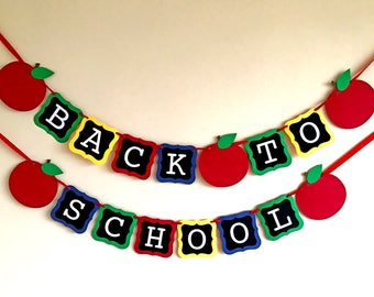 Back To School Banner, First Day of School, Teacher Banner, Classroom, Back To School Decor, Back To School Party, Sign, Apple Photo Prop