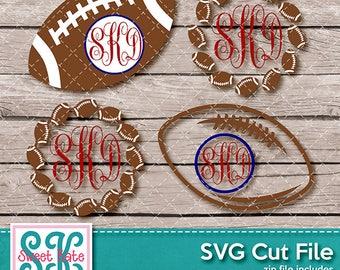 Football Monograms SVG dxf EPS png JPG htv Heat Transfer Vinyl Cricut Silhouette Scrapbook Cut Sports Sweet Kate Designs Instant Download