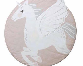 Unicorn play mat, tummy time mat, photo prop, unicorn round blanket