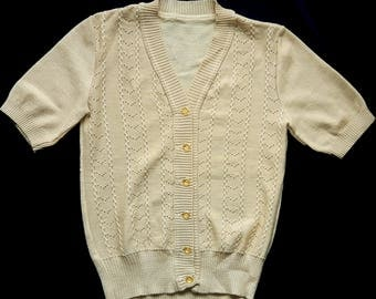 Vintage classic short sleeves cardigan pullover beige buttons size S/M
