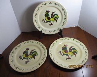 "Poppytrail Provincial Rooster Dinner Plates 10"""
