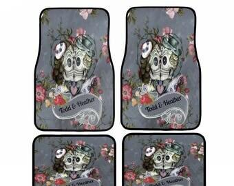 Sugar Skull Car Mats , Personalized , Custom Monogram, Your Names  Gray Floral, Kissing Skulls