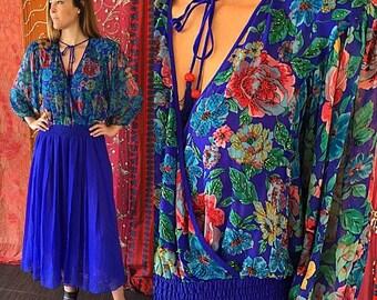 Sale Diane Freis Dress Silk Beaded Dress Party Dress Psychedelic Dress Vintage 80s Silk Dress