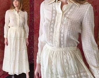 Sale OSCAR De La Renta Dress Wedding Lace Dress 70s Crochet Wedding Dress
