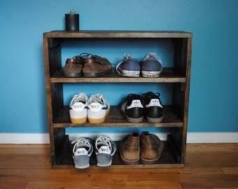 Rustic Shoe Organizer, Rack Crate, Shoe Rack, Shoe Storage, Shoe Shelf  24x11X24