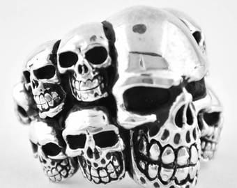 Summer CLEARANCE Sterling Silver 925 Biker Ring with 11 Skulls Made in USA