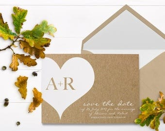 White Heart Kraft Save The Date - White Ink - White Heart Card - Kraft Paper Wedding Invitation - White Printing - Rustic Save The Date