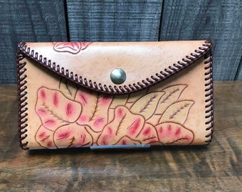 Deluxe Hand Tooled Leather Wallet with Checkbook Holder