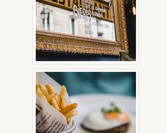 """France Travel Photography, """"Paris Bistro Scenes"""", Set of 2 Fine Art Prints, Gallery Wall, Home Decor, Gift"""