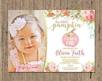 Pumpkin Birthday Invitation, Fall birthday invitation, Little pumpkin invite pink and gold, 1st first birthday pumpkin invitation, printable