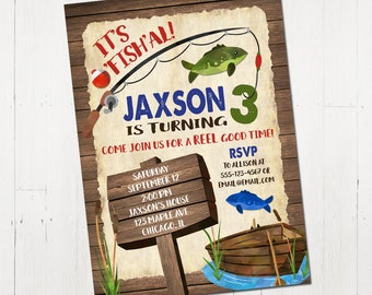 Fishing birthday invitation, boy birthday invitation, rustic fishing invite, gone fishing invitation, printable invitation, digital