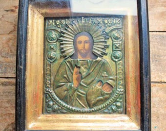 End 19th century Russian Icon with glass cover wooden box / Antique Eastern Orthodox Icon hand made