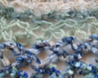 Triangle scarf Crochet/Boho Mermaid scarf/artsy scarf/lover's knot stitch/ blue green scarf/gift for women/seaside colors