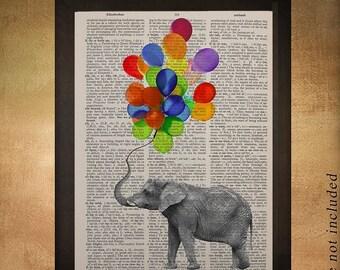 SALE-SHIPS Aug 22- Elephant and Colored Balloons Dictionary Art Print Animal Nursery Art Childrens Room Decor Wall Art da895