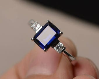 Blue Sapphire Ring Promise Ring September Birthstone Ring Emerald Cut Blue Gemstone Ring Sterling Silver Ring