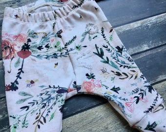 SALE: Organic Leggings - floral leggings, Princess Swan Lake, woodland leggings, natural baby clothes, girl baby leggings, toddler pants, mo