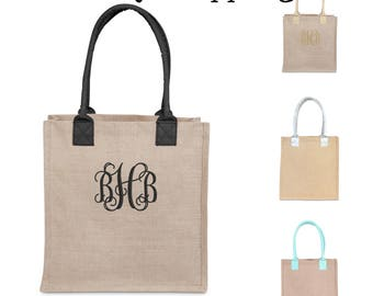 Monogram Jute Tote Burlap Bag, Buckhead Bettie Brand, Bridesmaid Gift, Sorority