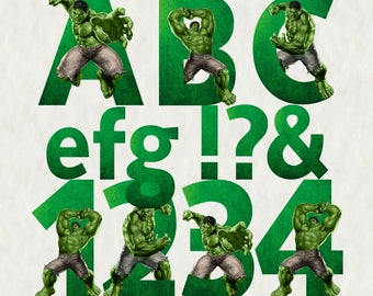 The Hulk Alphabet Clipart, The Hulk Letters, The Hulk Numbers, The Hulk font clipart, download