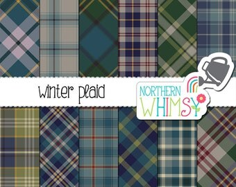 Winter Plaid Digital Paper - plaid patterns in blue, green, and grey - seamless plaid and diagonal plaid scrapbook paper - commecial use OK