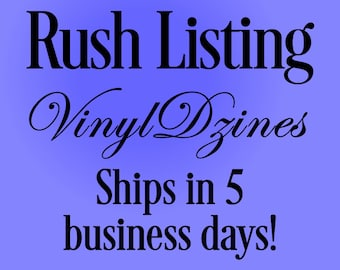 Rush Listing - Ships in 5 business days.  Please read details carefully.