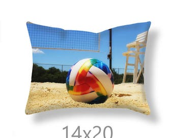 Sand Volleyball Pillow Cover-Beach Volleyball Throw Pillow-Beach Decor-Volleyball Outdoor Pillow Cover-Couch Pillow Cover-Sports Room Decor