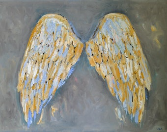 Angel Wings Painting Angel Wings Wall Art Original Painting on Canvas Abstract Wings for Wall Oil Painting Angel Wings Wall Decor Grey Gold
