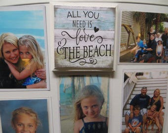 """Magnetic Wood Sign, """"All You Need is Love & the Beach"""", Beach Decor, Magnetic Wood Plaque,Refrigerator Magnet"""