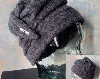plain grey boiled wool hat