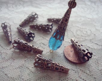 Sale! 50 Vintage Style Short Copper Nail Caps 23x9mm For Big Teardrops, Icicle Prisms and Creative Dangles. Long Stamped Iron Cap. Hole 3mm