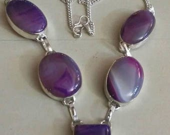 Holiday SALE 85 % OFF Agate  Necklace .925 Sterling  Silver  Gemstone
