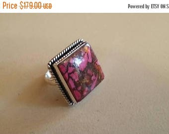 Holiday SALE 85 % OFF Copper Turquoise   ring size 8 Sterling 925 Silver   Ring  Gemstone