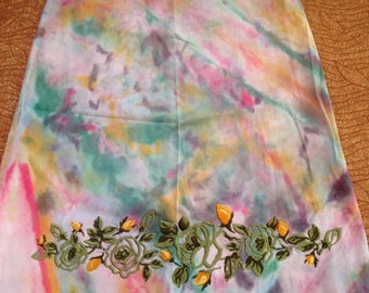 Women's Size 5 Up-Cycled Tie Dye Skirt With Embroidered Flowers